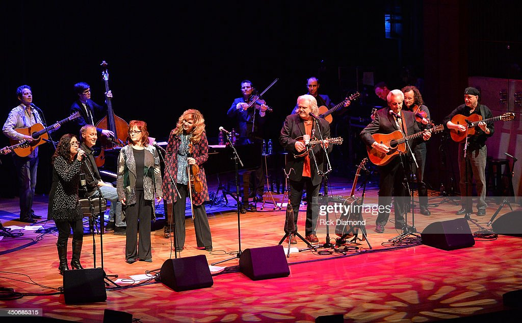 Recording Artists Sharon White of The Whites, Bruce Horsby, Cheryl White of The Whites, Alison Krauss, Ricky Skaggs, Del McCoury, Martin Hayes and Dennis Cahill along with Ricky's band Kentucky Thunder perform during Ricky Skaggs Day 2 - Bluegrass Rules at the CMA Theater on November 19, 2013 in Nashville, Tennessee. Skaggs was recently announced as the Country Music Hall of Fame and Museum's 2013 Artist-in-Residence.