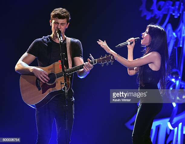 Recording artists Shawn Mendes and Camila Cabello of Fifth Harmony perform onstage during 1027 KIIS FM's Jingle Ball 2015 Presented by Capital One at...
