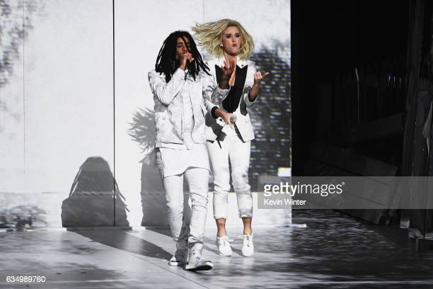 Recording artists Skip Marley and Katy Perry perform onstage during The 59th GRAMMY Awards at STAPLES Center on February 12 2017 in Los Angeles...