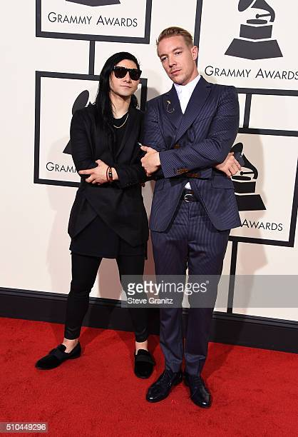 Recording artists Skrillex and Diplo attend The 58th GRAMMY Awards at Staples Center on February 15 2016 in Los Angeles California