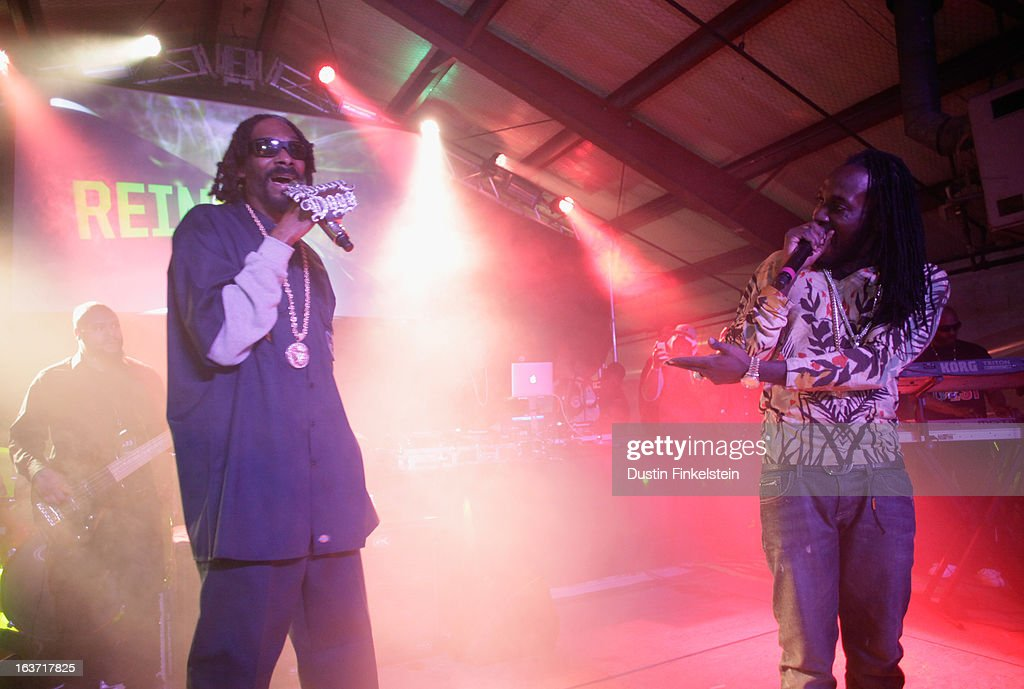 Recording artists <a gi-track='captionPersonalityLinkClicked' href=/galleries/search?phrase=Snoop+Dogg&family=editorial&specificpeople=175943 ng-click='$event.stopPropagation()'>Snoop Dogg</a> aka Snoop Lion and Mavado perform onstage at Lion Fest during the 2013 SXSW Music, Film + Interactive Festival at Viceland on March 14, 2013 in Austin, Texas.