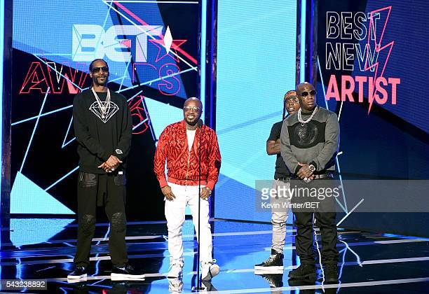 Recording artists Snoop Dogg Jermaine Dupri Jacquees and Birdman speak onstage during the 2016 BET Awards at the Microsoft Theater on June 26 2016 in...