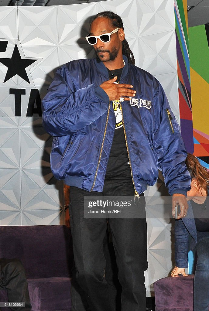 Recording artists <a gi-track='captionPersonalityLinkClicked' href=/galleries/search?phrase=Snoop+Dogg&family=editorial&specificpeople=175943 ng-click='$event.stopPropagation()'>Snoop Dogg</a> speaks during the Genius Talks sponsored by AT&T during the 2016 BET Experience on June 25, 2016 in Los Angeles, California.
