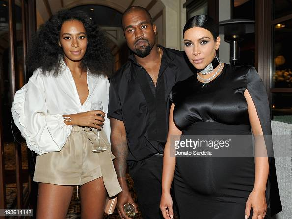 Recording artists Solange Knowles and Kanye West and tv personality Kim Kardashian attend the CFDA/Vogue Fashion Fund Dinner at Bouchon Beverly Hills...