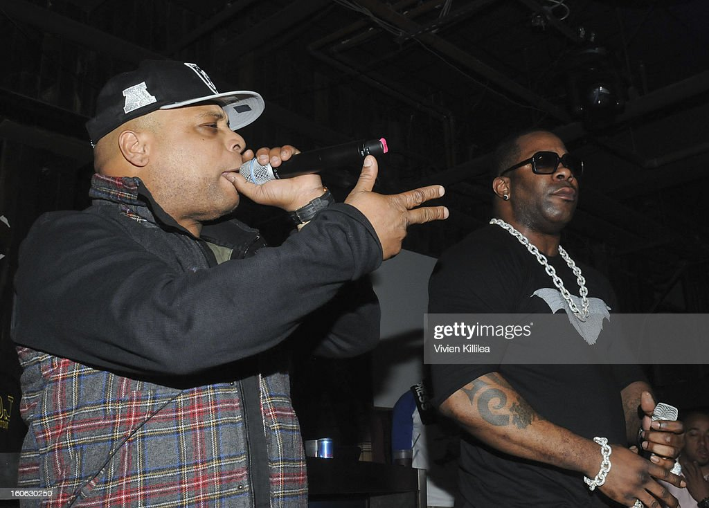 Recording artists Spliff Star and Busta Rhymes perform at Greenhouse And Talent Resources Sports Host Super Sunday NOLA After Party at Jax Brewery on February 3, 2013 in New Orleans, Louisiana.