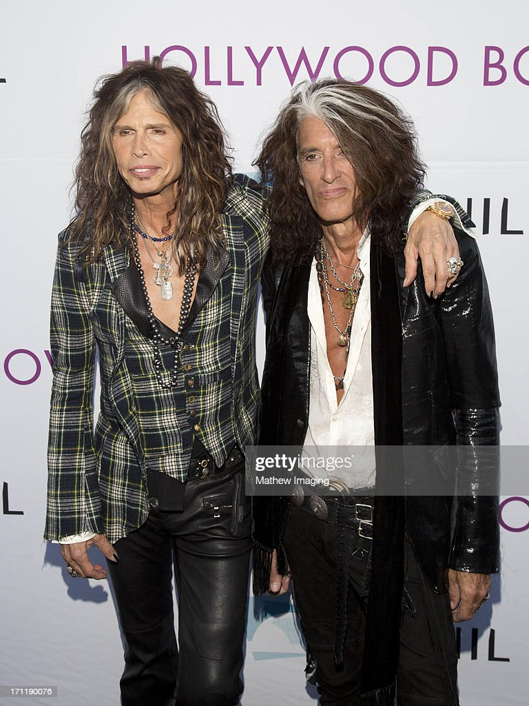 Recording artists <a gi-track='captionPersonalityLinkClicked' href=/galleries/search?phrase=Steven+Tyler&family=editorial&specificpeople=202080 ng-click='$event.stopPropagation()'>Steven Tyler</a> and <a gi-track='captionPersonalityLinkClicked' href=/galleries/search?phrase=Joe+Perry+-+Musicista&family=editorial&specificpeople=13600677 ng-click='$event.stopPropagation()'>Joe Perry</a> attend Hollywood Bowl Opening Night Gala - Arrivals at The Hollywood Bowl on June 22, 2013 in Los Angeles, California.