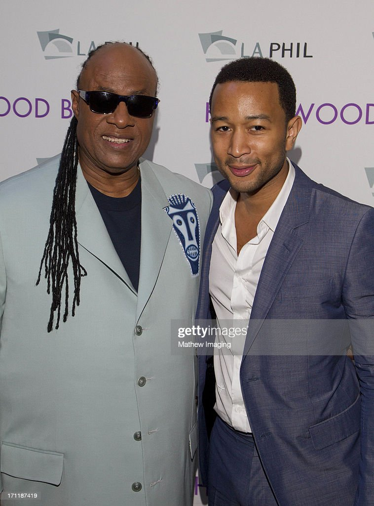 Recording artists Stevie Wonder and John Legend attend Hollywood Bowl Opening Night Gala - Inside at The Hollywood Bowl on June 22, 2013 in Los Angeles, California.