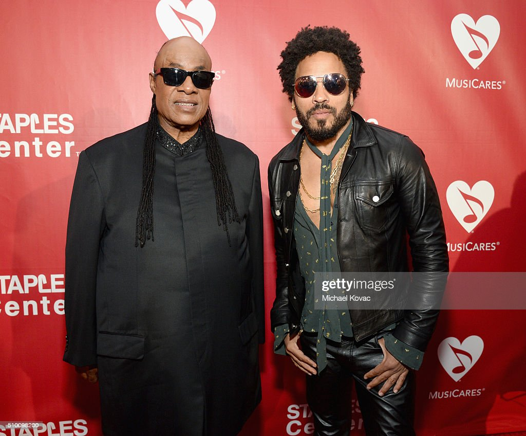 Recording artists <a gi-track='captionPersonalityLinkClicked' href=/galleries/search?phrase=Stevie+Wonder&family=editorial&specificpeople=171911 ng-click='$event.stopPropagation()'>Stevie Wonder</a> (L) and <a gi-track='captionPersonalityLinkClicked' href=/galleries/search?phrase=Lenny+Kravitz&family=editorial&specificpeople=171613 ng-click='$event.stopPropagation()'>Lenny Kravitz</a> attend the 2016 MusiCares Person of the Year honoring Lionel Richie at the Los Angeles Convention Center on February 13, 2016 in Los Angeles, California.