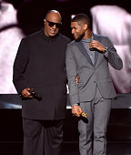 Recording artists Stevie Wonder and Usher perform onstage during The 57th Annual GRAMMY Awards at the STAPLES Center on February 8 2015 in Los...