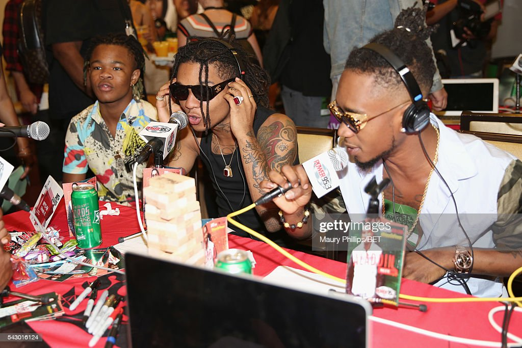 Recording artists Swae Lee (L) and Slim Jimmy of Rae Sremmurd attend the radio broadcast center during the 2016 BET Experience at the JW Marriott Los Angeles L.A. Live on June 25, 2016 in Los Angeles, California.
