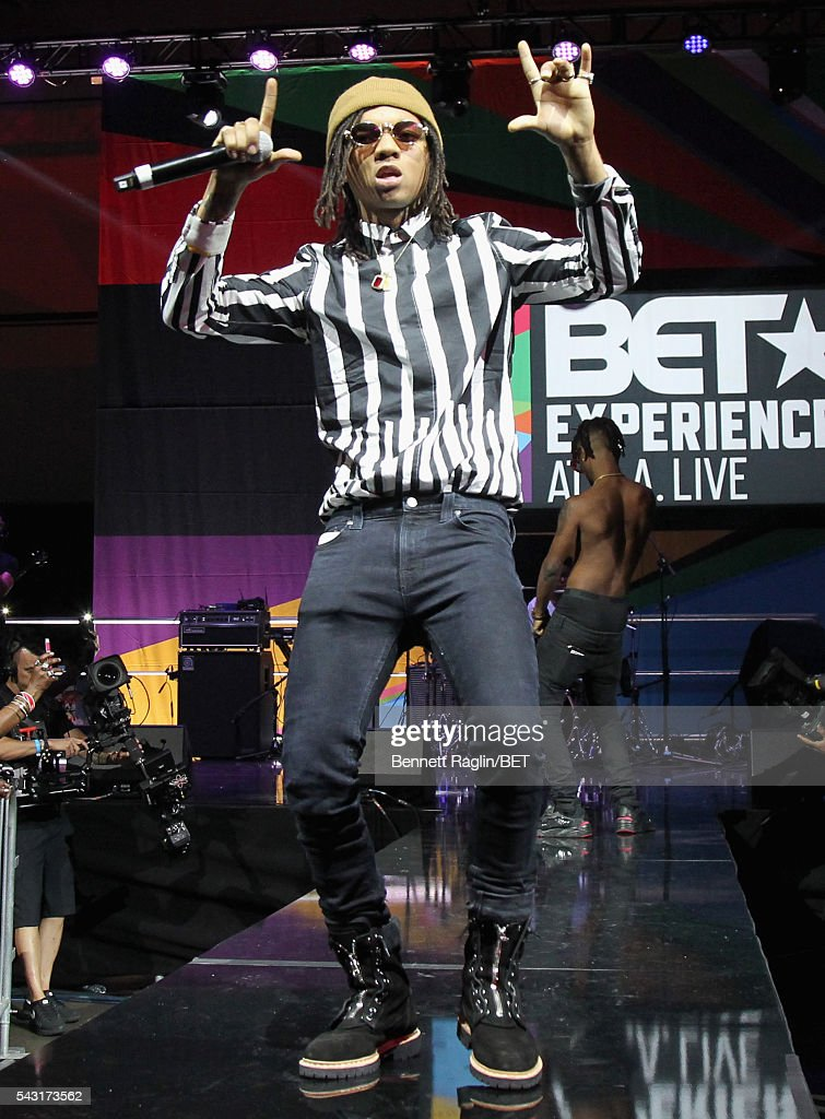 Recording artists <a gi-track='captionPersonalityLinkClicked' href=/galleries/search?phrase=Swae+Lee&family=editorial&specificpeople=12935150 ng-click='$event.stopPropagation()'>Swae Lee</a> (L) and <a gi-track='captionPersonalityLinkClicked' href=/galleries/search?phrase=Slim+Jimmy&family=editorial&specificpeople=12935151 ng-click='$event.stopPropagation()'>Slim Jimmy</a> of Rae Sremmurd perform onstage at the BET Awards Red Carpet Look-In Special during the 2016 BET Experience on June 26, 2016 in Los Angeles, California.