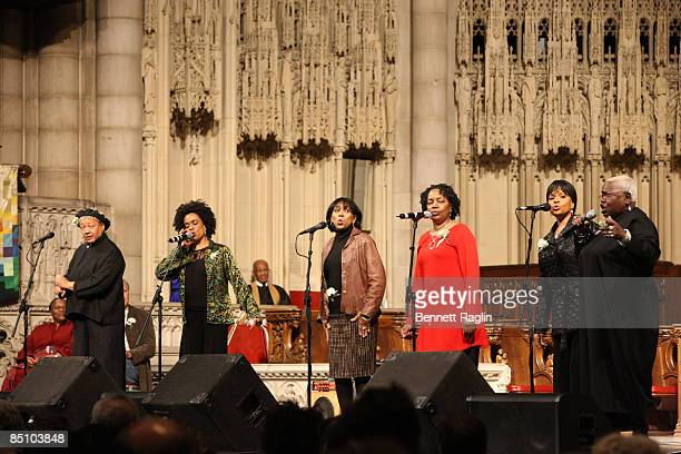Recording artists Sweet Honey and the Rock perform during the memorial celebration for Odetta at Riverside Church on February 24 2009 in New York City
