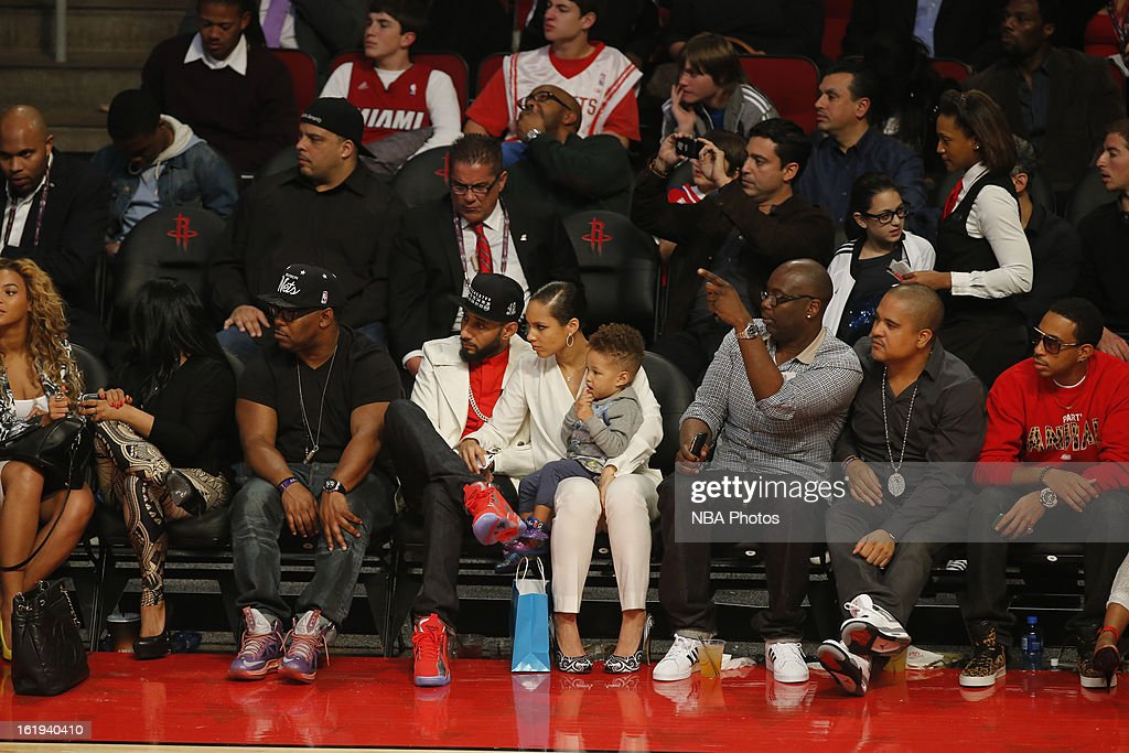 Recording Artists Swizz Beatz, Alicia Keys,Irv Gotti,Ludacris all watch the 2013 NBA All-Star Game on February 17, 2013 at Toyota Center in Houston, Texas.