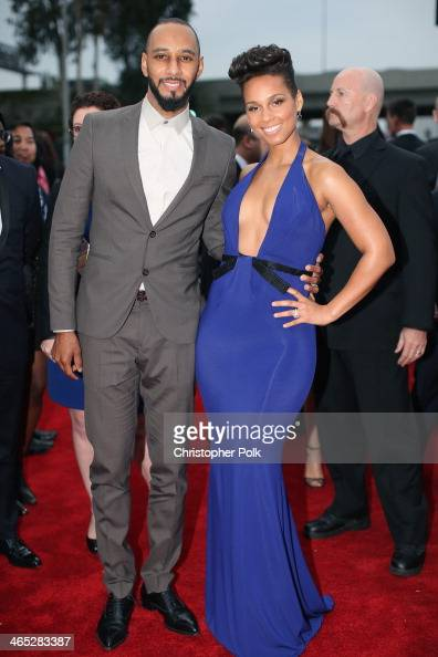 Recording artists Swizz Beatz and Alicia Keys attend the 56th GRAMMY Awards at Staples Center on January 26 2014 in Los Angeles California