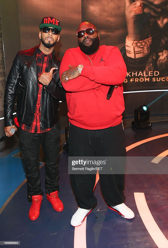 Recording artists <a gi-track='captionPersonalityLinkClicked' href=/galleries/search?phrase=Swizz+Beatz&family=editorial&specificpeople=567154 ng-click='$event.stopPropagation()'>Swizz Beatz</a> and <a gi-track='captionPersonalityLinkClicked' href=/galleries/search?phrase=Rick+Ross+-+Rapper&family=editorial&specificpeople=11492924 ng-click='$event.stopPropagation()'>Rick Ross</a> visit 106 & Park at 106 & Park studio on October 22, 2013 in New York City.