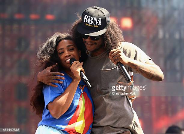 Recording artists SZA and AbSoul perform on the Dylan Stage during day 2 of the 2014 Budweiser Made in America Festival at Los Angeles Grand Park on...