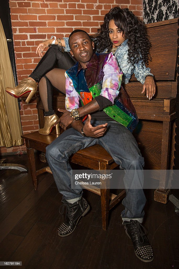 Recording artists Tah Mac (L) and Shanell pose backstage at the 'Love, Life & Reality' show at Federal Bar on February 26, 2013 in Hollywood, California.