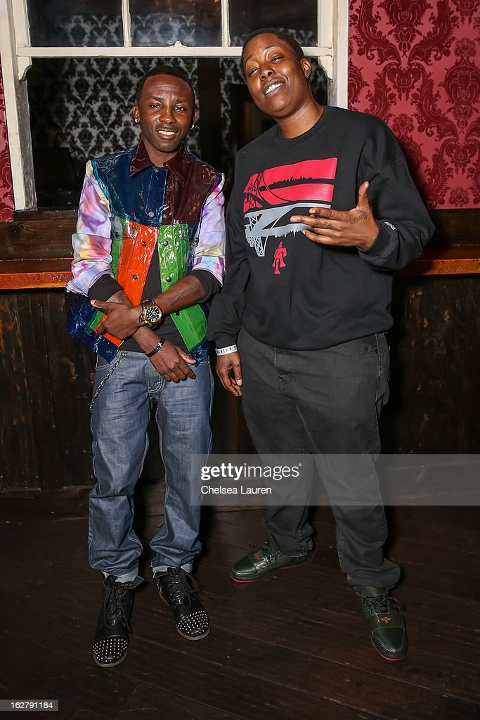 Recording artists Tah Mac (L) and Tish Hyman pose backstage at the 'Love, Life & Reality' show at Federal Bar on February 26, 2013 in Hollywood, California.