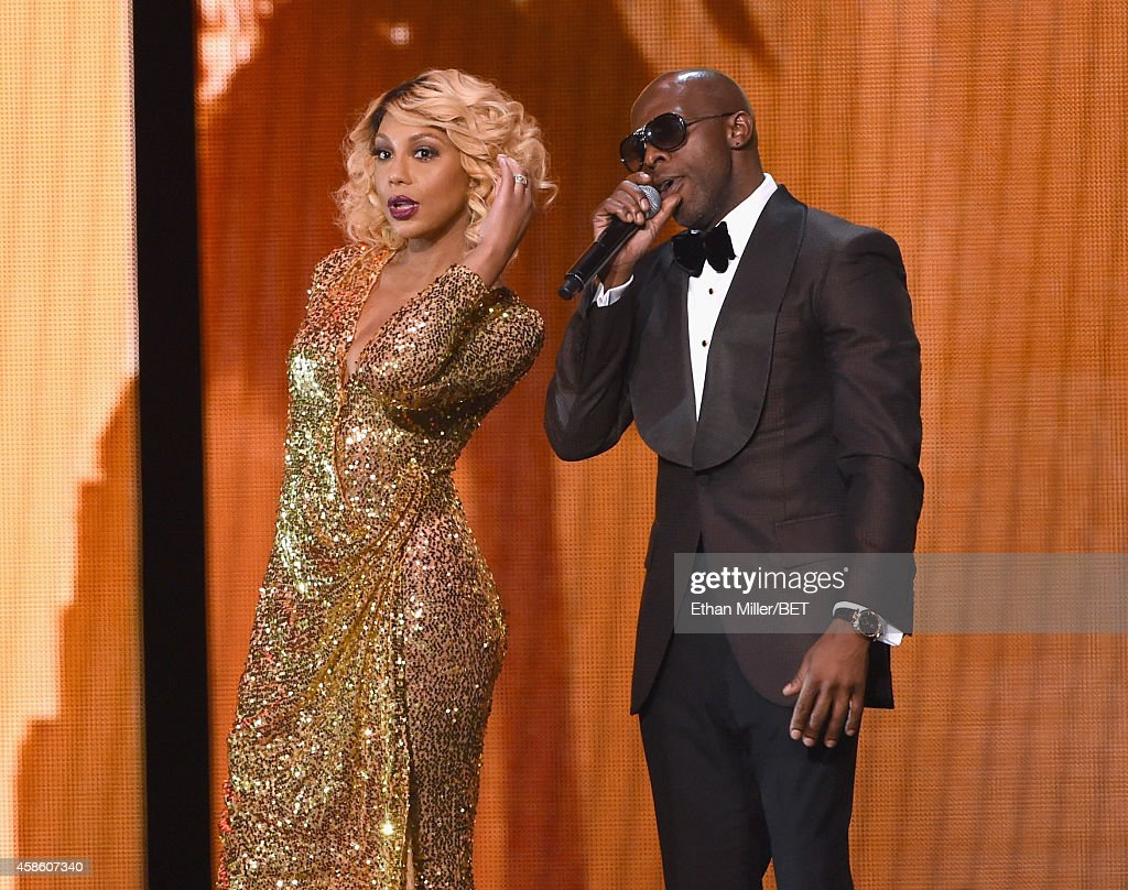 Recording artists Tamar Braxton and Joe perform onstage during the 2014 Soul Train Music Awards at the Orleans Arena on November 7 2014 in Las Vegas...