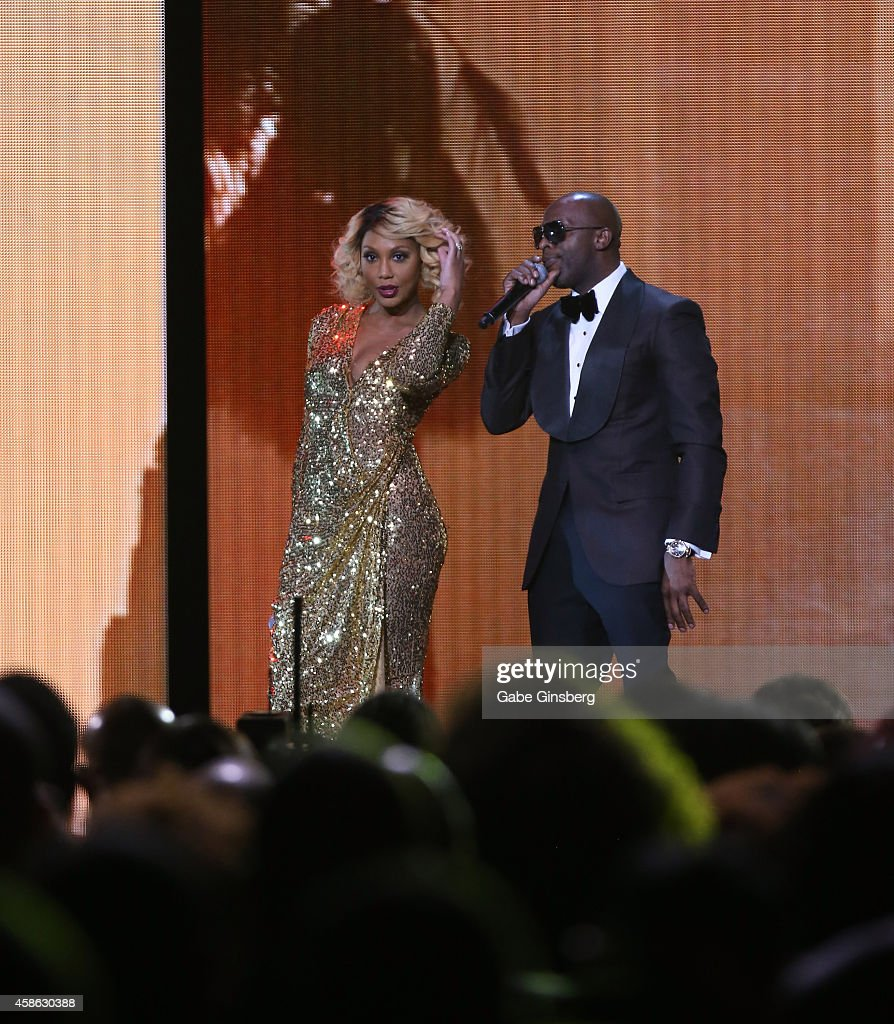 Recording artists Tamar Braxton and Joe perform onstage during the 2014 Soul Train Music Awards at the Orleans Areana on November 7 2014 in Las Vegas...