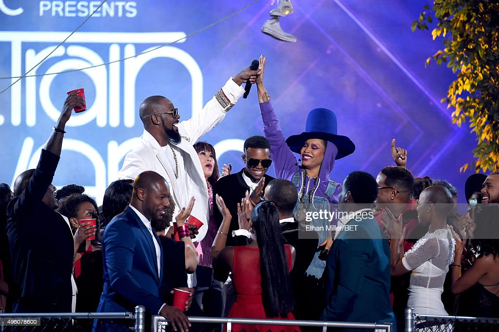 Recording artists Tank R Kelly Soul Train dancer Cheryl Song recording artist Silento host Erykah Badu and fellow presenters performers and nominees...