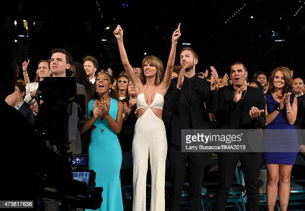 Recording artists Taylor Swift and Calvin Harris attends the 2015 Billboard Music Awards at MGM Grand Garden Arena on May 17 2015 in Las Vegas Nevada