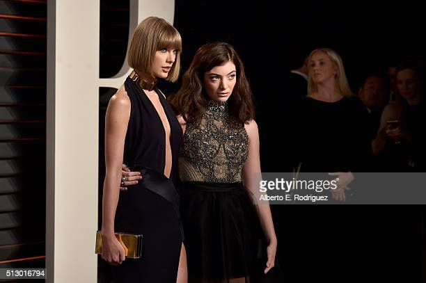 Recording artists Taylor Swift and Lorde attend the 2016 Vanity Fair Oscar Party hosted By Graydon Carter at Wallis Annenberg Center for the...