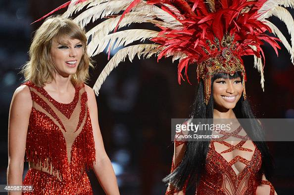 Recording artists Taylor Swift and Nicki Minaj perform onstage during the 2015 MTV Video Music Awards at Microsoft Theater on August 30 2015 in Los...