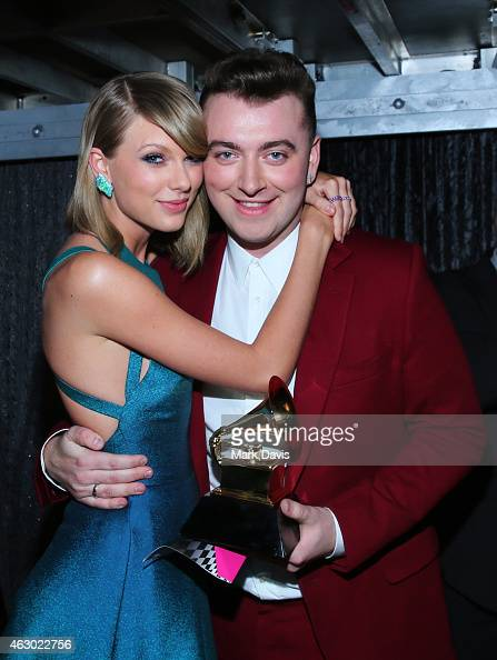 Recording artists Taylor Swift and Sam Smith attend The 57th Annual GRAMMY Awards at STAPLES Center on February 8 2015 in Los Angeles California