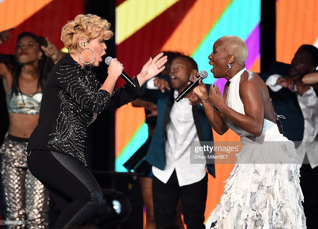 Recording artists Tessanne Chin and Liv Warfield perform during the 2014 Soul Train Music Awards at the Orleans Arena on November 7 2014 in Las Vegas...