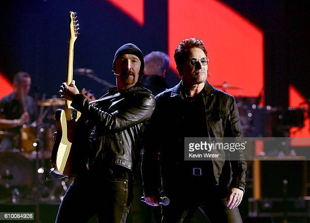 Recording artists The Edge and Bono of music group U2 perform onstage at the 2016 iHeartRadio Music Festival at TMobile Arena on September 23 2016 in...