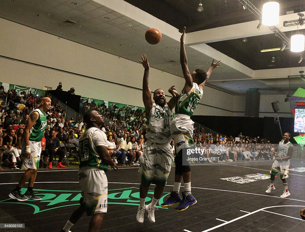 Recording artists The Game (C) and Desiigner (R) participate in the celebrity basketball game presented by Sprite during the 2016 BET Experience on June 25, 2016 in Los Angeles, California.