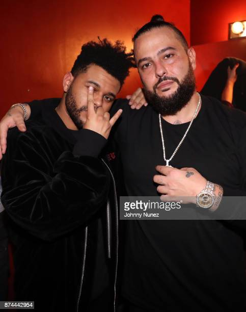 Recording artists The Weeknd and Belly backstage at SOB's on November 14 2017 in New York City