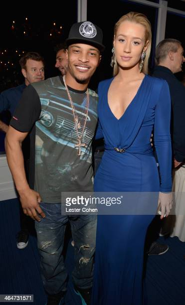 Recording artists TI and Iggy Azalea attend Friends 'N' Family 17 GRAMMY VIP Host Dinner at Mr C Beverly Hills on January 23 2014 in Beverly Hills...
