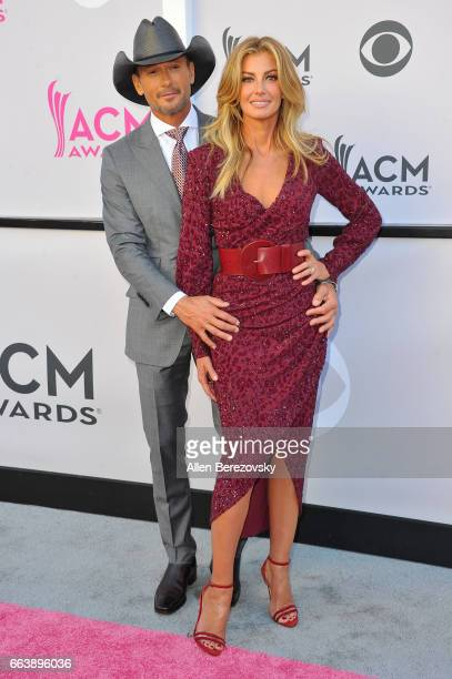 Recording artists Tim McGraw and Faith Hill arrive at the 52nd Academy Of Country Music Awards on April 2 2017 in Las Vegas Nevada
