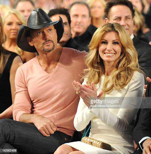 Recording artists Tim McGraw and Faith Hill attend the 47th Annual Academy Of Country Music Awards held at the MGM Grand Garden Arena on April 1 2012...