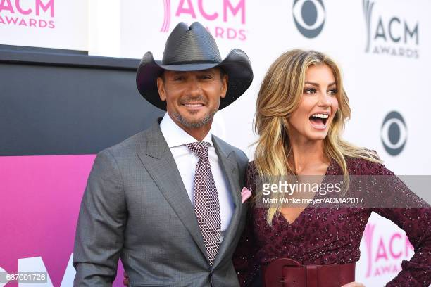 Recording artists Tim McGraw and Faith Hill attend the 52nd Academy Of Country Music Awards at TMobile Arena on April 2 2017 in Las Vegas Nevada