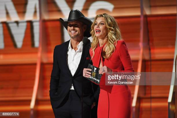 Recording artists Tim McGraw and Faith Hill speak onstage during The 59th GRAMMY Awards at STAPLES Center on February 12 2017 in Los Angeles...