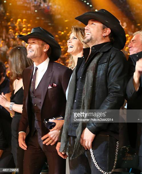Recording artists Tim McGraw Faith Hill and Jason Aldean attend the 49th Annual Academy of Country Music Awards at the MGM Grand Garden Arena on...