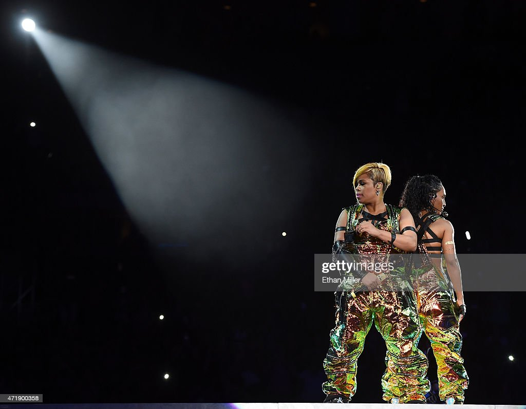 Recording artists Tionne 'TBoz' Watkins and Rozonda 'Chilli' Thomas of TLC perform during the kickoff of The Main Event tour at the Mandalay Bay...