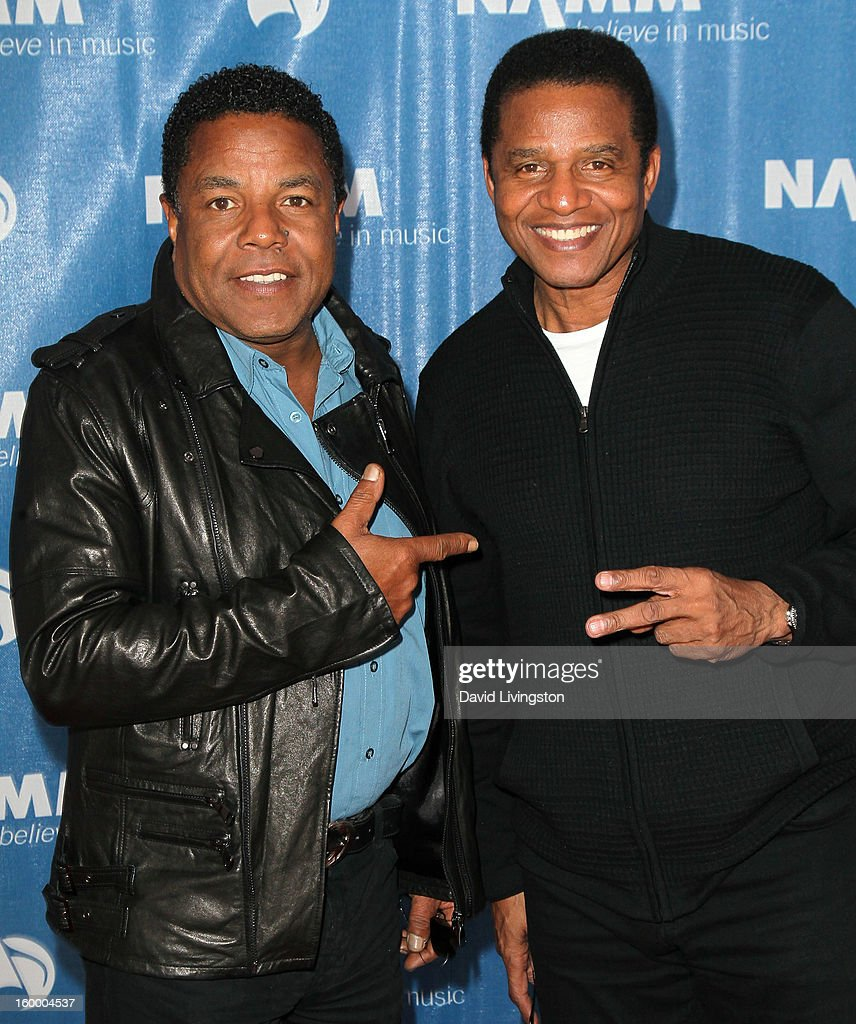 Recording artists <a gi-track='captionPersonalityLinkClicked' href=/galleries/search?phrase=Tito+Jackson&family=editorial&specificpeople=216556 ng-click='$event.stopPropagation()'>Tito Jackson</a> (L) and <a gi-track='captionPersonalityLinkClicked' href=/galleries/search?phrase=Jackie+Jackson&family=editorial&specificpeople=212794 ng-click='$event.stopPropagation()'>Jackie Jackson</a> attend the 2013 NAMM Show - Day 1 at the Anaheim Convention Center on January 24, 2013 in Anaheim, California.