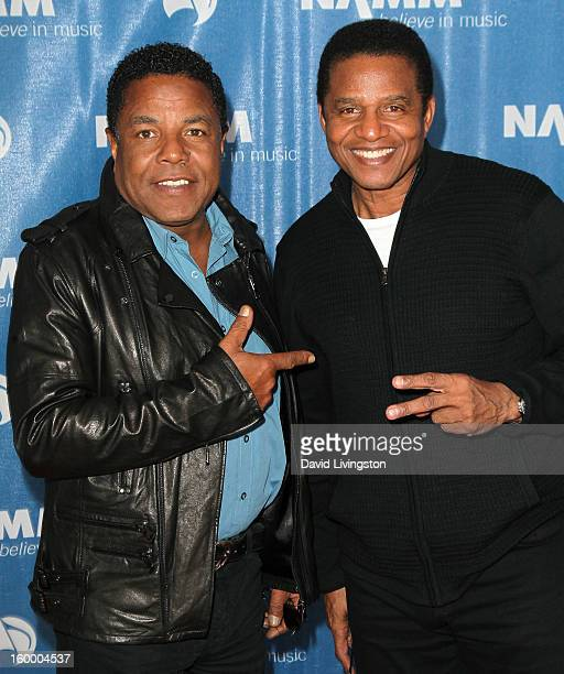 Recording artists Tito Jackson and Jackie Jackson attend the 2013 NAMM Show Day 1 at the Anaheim Convention Center on January 24 2013 in Anaheim...