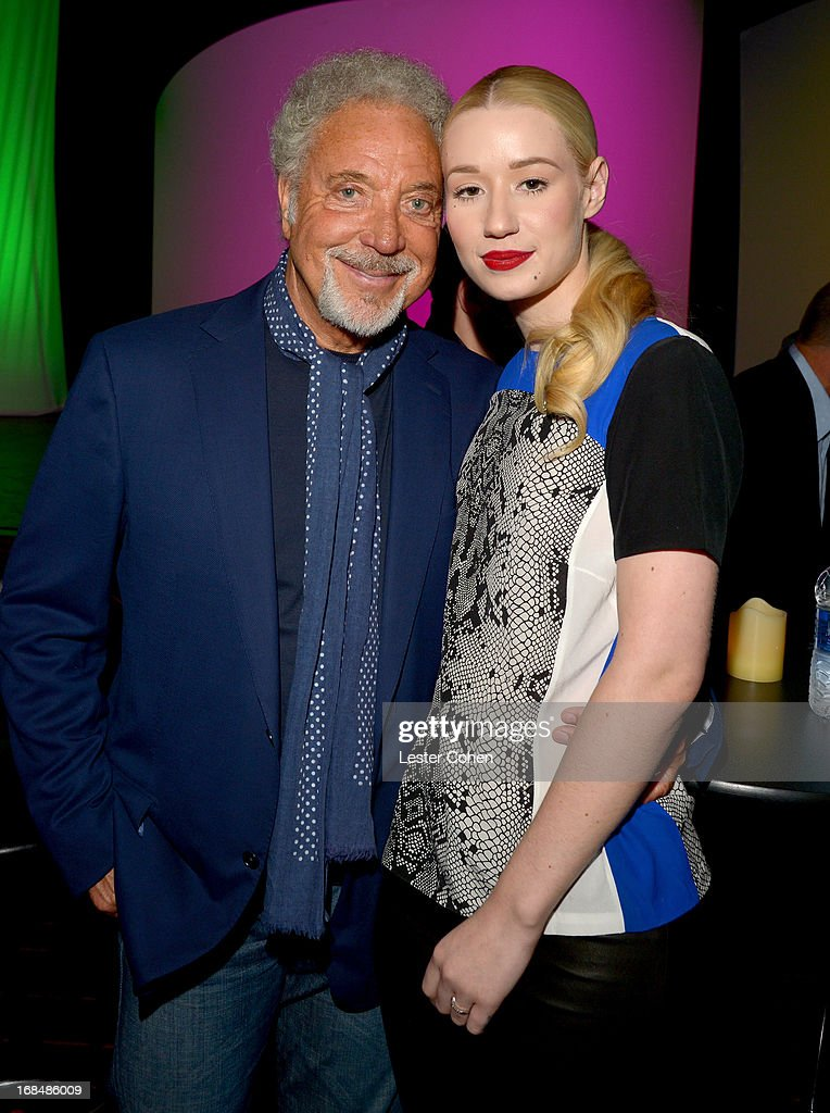 Recording artists Tom Jones (L) and <a gi-track='captionPersonalityLinkClicked' href=/galleries/search?phrase=Iggy+Azalea&family=editorial&specificpeople=8558263 ng-click='$event.stopPropagation()'>Iggy Azalea</a> attend the NARM 2013 meet and greet during 2013 Music Biz Awards at the Hyatt Regency Century Plaza on May 9, 2013 in Los Angeles, California.