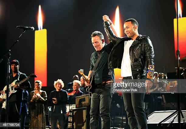 Recording artists Tom Morello Andra Day Ed Sheeran Pnk Sting Bruce Springsteen and John Legend perform onstage at AE Networks 'Shining A Light'...