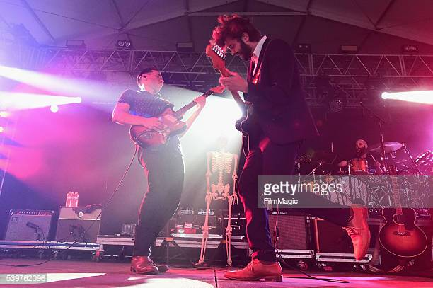 Recording artists Tom Renaud Ben Schneider and Mark Barry of Lord Huron performs onstage at This Tent during Day 4 of the 2016 Bonnaroo Arts And...