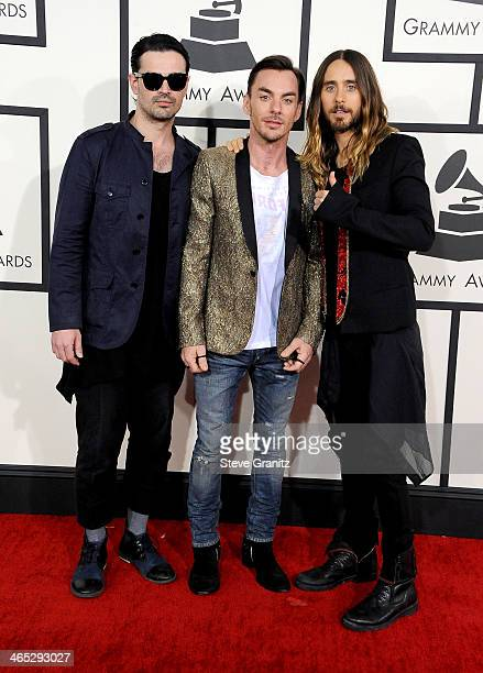 Recording artists Tomo Milicevic Shannon Leto and Jared Leto of Thirty Seconds To Mars attend the 56th GRAMMY Awards at Staples Center on January 26...