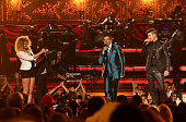 Recording artists Tori Kelly NeYo Lifetime Achievement honoree Smokey Robinson and recording artist Robin Thicke perform onstage during the 2015 BET...