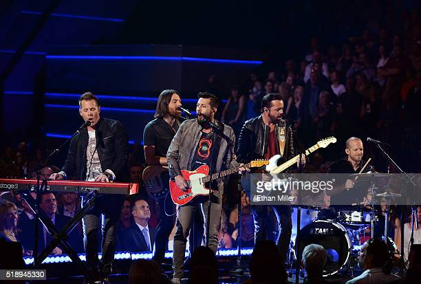 Recording artists Trevor Rosen Geoff Sprung Matthew Ramsey Brad Tursi and Whit Sellers of music group Old Dominion perform onstage during the 51st...