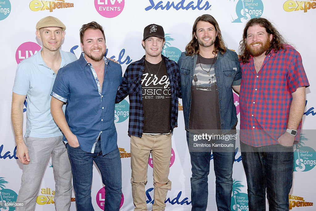 Recording artists Tucker Beathard (C) and Jon Jones, Mike Eli, Chris Thompson, and James Young of Eli Young Band attend CMT Story Behind The Songs LIV + Weekend at Sandals Royal Bahamian Spa Resort & Offshore Island - Day 2 at Sandals Royal Bahamian on December 9, 2016 in Nassau, Bahamas.