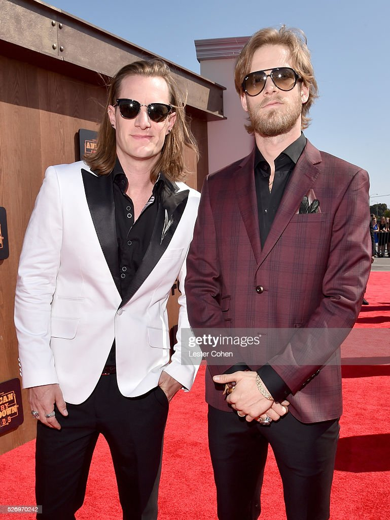 Recording artists Tyler Hubbard (L) and Brian Kelley of Florida Georgia Line attend the 2016 American Country Countdown Awards at The Forum on May 1, 2016 in Inglewood, California.